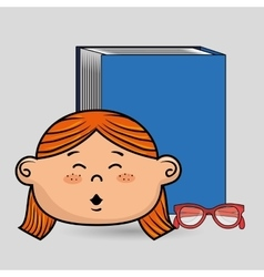 student girl book glasses study vector image