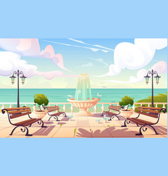 summer seafront with fountain and benches vector image