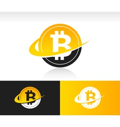 Swoosh Bitcoin Logo Icon vector