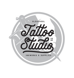 Tattoo studio typography emblem vintage vector