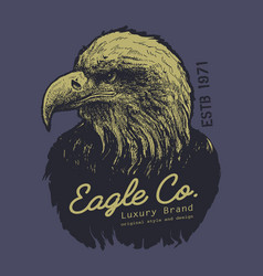 tee print design with eagle drawing vector image