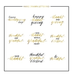 Thanksgiving gold lettering set vector