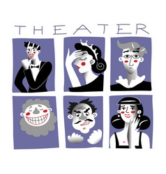 Theater characters flat set vector