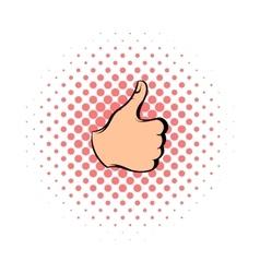 Thumb up icon comics style vector image