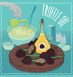 Truffle oil used for cooking vector