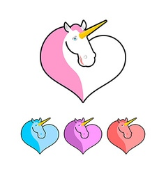 Unicorn icon flat style magical beast with horn in vector