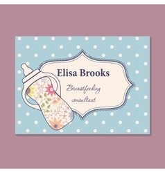 Vintage business card for breastfeeding consultant vector image