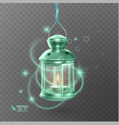 Vintage luminous lantern of green color with vector