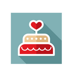 Wedding cake dessert with heart icon vector