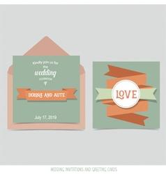 Wedding invitation card with ribbon templates vector image