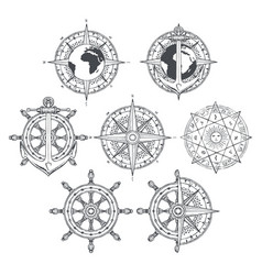 Wind rose ship anchor and helm in retro style vector
