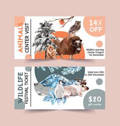 Winter animal voucher design with seal monkey owl vector