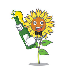 With beer sunflower mascot cartoon style vector