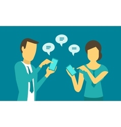 Woman and man exchange messages in the phone vector