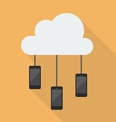 Cloud computing smartphone network vector