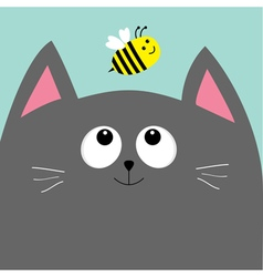 Gray cat head looking at honey bee insect Cute vector image vector image
