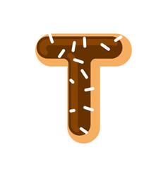 letter t donut font doughnut alphabet sweet vector image