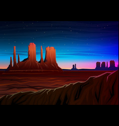 mountain and monument valley night panoramic view vector image