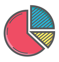 Pie chart colorful line icon business and diagram vector