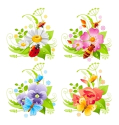 Summer banner set with flower and insect icons and vector