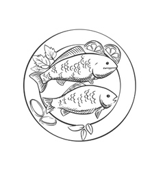 Fried fish with lemon and herbs vector image