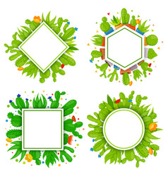 set of 4 empty geometrical frames with cactuses vector image vector image