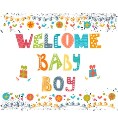 Welcome baby boy Baby boy arrival postcard Baby vector image