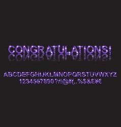 Congratulations gold violet alphabetic fonts vector