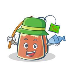fishing tea bag character cartoon art vector image