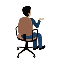 Man sitting on the chair and pointing on something vector