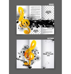 Music tri fold brochure vector image