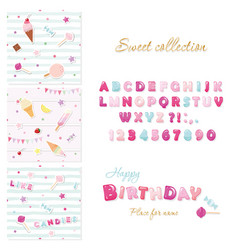 party design elements set candy font design and vector image