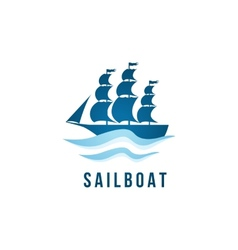 Sailboat logo template vector image