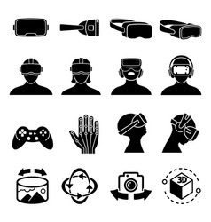 virtual reality and headset glasses icons vector image