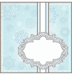 Winter background with ornamental frame vector image vector image