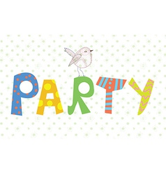 Funny party banner with texture and bird vector image vector image