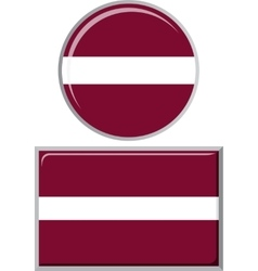 Latvian round and square icon flag vector image