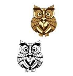Rounded owl bird with brown plumage vector image