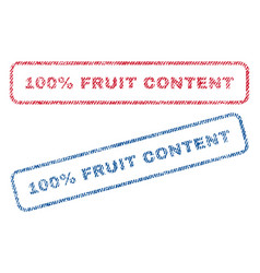 100 percent fruit content textile stamps vector