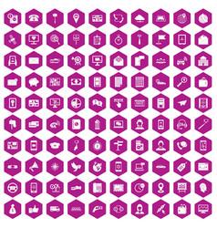 100 smartphone icons hexagon violet vector
