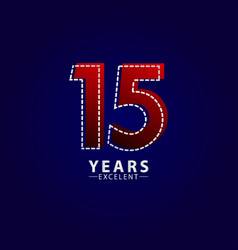 15 years excellent anniversary celebration red vector