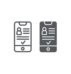 add friend on smartphone line and glyph icon vector image
