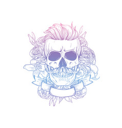 angry skull with cirly hairstyle vector image