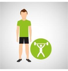 athlete man barbell weight sport graphic vector image
