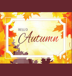Autumn background with white frame vector