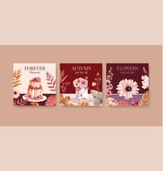 autumn flower concept design for advertising vector image