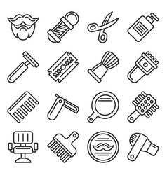 barber shop icons set on white background line vector image