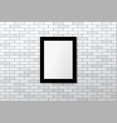 black frame on white brick wall mock up vector image