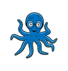 blue octopus with glasses vector image