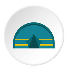 Blue touristic camping tent icon circle vector